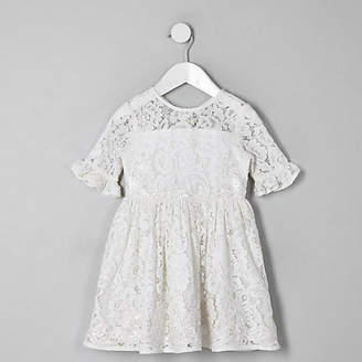 River Island Mini girls white lace bow back dress