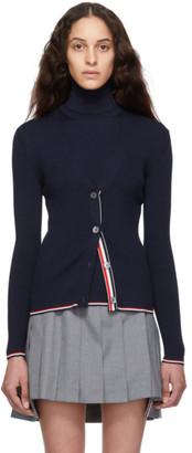 Thom Browne Navy Rib Stitch Tipping Stripe Cardigan
