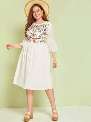 Shein Plus Floral Embroidered Flounce Sleeve Dress