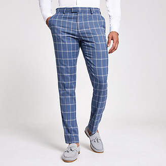 River Island Light blue check suit trousers