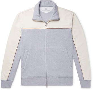 Brunello Cucinelli Stretch-Cotton Corduroy and Melange Fleece-Back Jersey Zip-Up Sweatshirt - Men - Gray