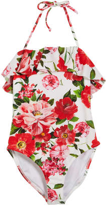 Milly Rose-Print Ruffle Top One-Piece Swimsuit Size 4-6