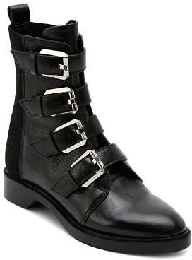 Dolce Vita Women's Gaven Buckled Leather Combat Booties