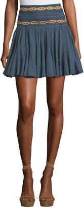 Etoile Isabel Marant Breeda High-Waist Circular Chambray Skirt with Embroidery