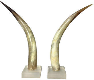 One Kings Lane Vintage 1960s Horns with Lucite Bases - Set of 2