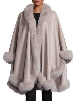 Sofia Cashmere Women's Fox Fur-Trimmed Cashmere Wrap - Stone