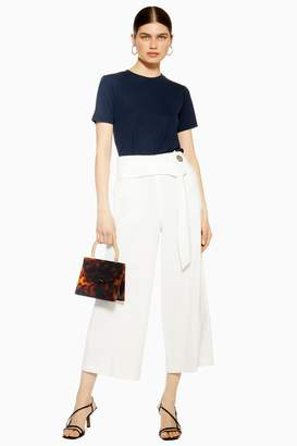 Topshop Womens Button Bonded Crop Wide Trousers - Ivory