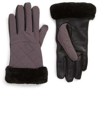 UGG Water Resistant Touchscreen Quilted Faux Fur, Leather, & Genuine Shearling Gloves