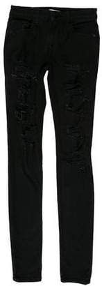 Alice + Olivia Distressed Mid-Rise Jeans