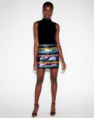 Express High Waisted Sequin Stripe Mini Skirt