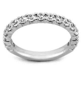 Generic 1/2 Carat T.W. Brilliant Round Diamond 10kt White Gold Machine-Set 17-Stone Shared Prong Band with HI I1-I2 Diamonds
