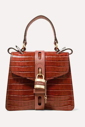 Chloé Aby Small Croc-effect Leather Tote - Brown