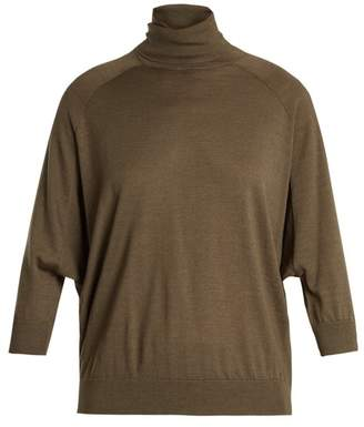 Brunello Cucinelli Roll Neck Cashmere Blend Sweater - Womens - Khaki
