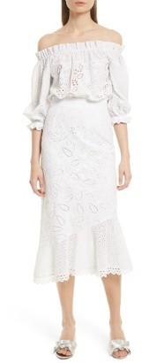 Women's Saloni Grace Cotton Off The Shoulder Dress $650 thestylecure.com