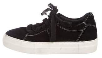 Helmut Lang Suede Platform Low-Top Sneakers
