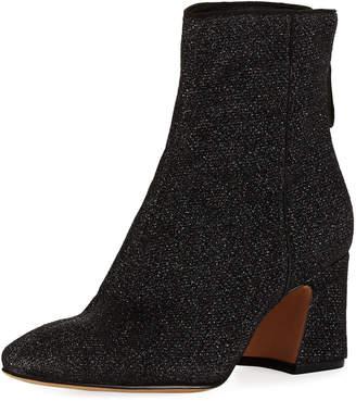 Alexandre Birman Corella Metallic Knit Block-Heel Boot