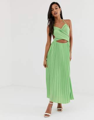 Fashion Union midi dress with pleated skirt and cut out detail