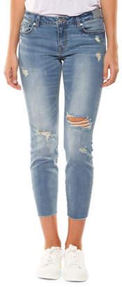 Dex Distressed Raw Hem Slim Jeans