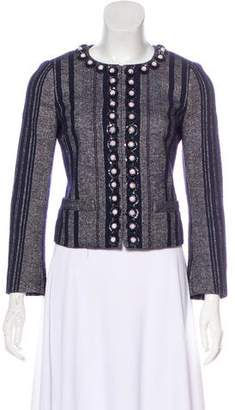 Tory Burch Collarless Embellished Blazer