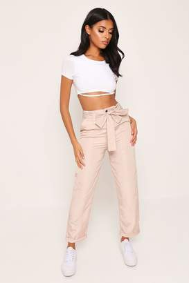 I SAW IT FIRST Beige Paperbag Shell Cargo Trouser