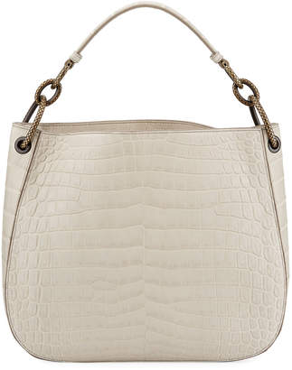 Bottega Veneta Soft Crocodile Loop Hobo Bag