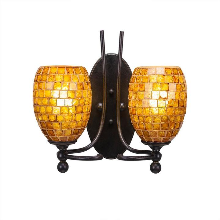 Cambridge Silversmiths Cambridge 2-Light Dark Granite Sconce with Copper Cracked Glass