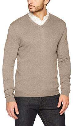 Benetton Men's V Neck Sweater L/s Sweatshirt, (Light Brown 530), Large