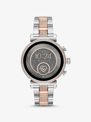 Michael Kors Sofie Heart Rate Pave Two-Tone Smartwatch