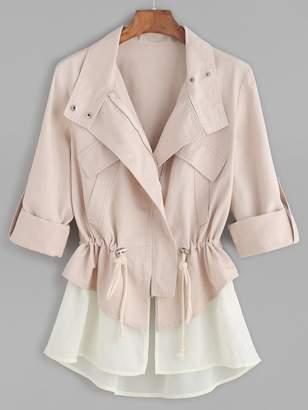 Shein Roll Sleeve Drawstring Jacket With Contrast Trim