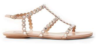 Aquazzura Tequila Crystal Embellished Leather Sandals - Womens - Nude