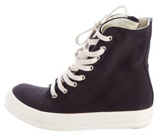 Rick Owens Drkshdw Nylon High-Top Sneakers $350 thestylecure.com