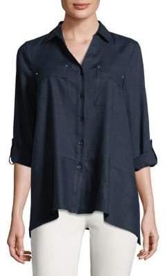 Jones New York Flounce-Hem Shirt