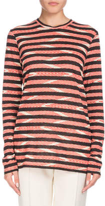 Proenza Schouler Long-Sleeve Crewneck Chevron & Stripe Cotton T-Shirt