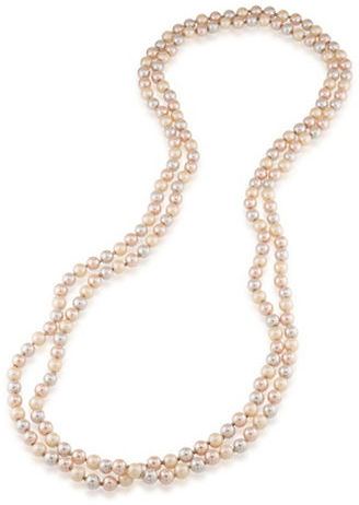 Carolee Carolee Pink Champagne 10MM Faux Pearl Rope Necklace