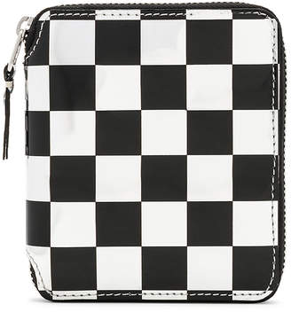 Comme des Garcons Optical Zip Wallet in Check & Silver | FWRD