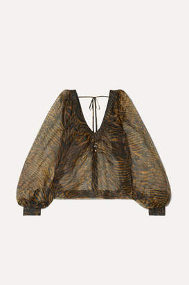 Ganni Printed Organza Blouse - Brown