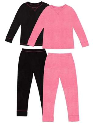 Cuddl Duds ClimateRight by Stretch Fleece Warm Long Underwear, 2pk (Toddler Girls)