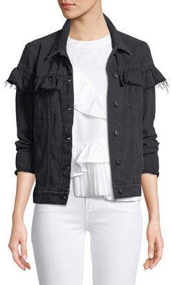 Paige Heidi Button-Front Denim Jacket with Ruffled Trim