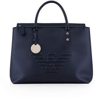 Emporio Armani Large Bleu Maxi Logo Handbag