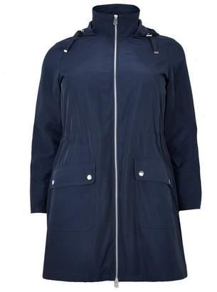Evans Navy Blue Longline Zip Trim Coat