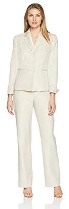 Le Suit Women's Stripe 3 BTN JKT Notch Collar Pant Suit