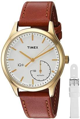 Timex Women's TWG013600 IQ+ Move Activity Tracker Brown Leather Strap Smart Watch Set with Extra White Silicone Strap