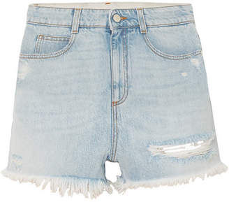 Stella McCartney Distressed Denim Shorts - Blue