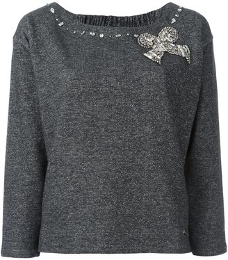 Twin-Set embellished bow sweater $197.80 thestylecure.com