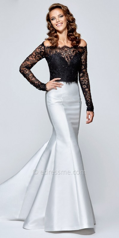 Tarik Ediz Prom Scalloped Lace Off the Shoulder Mermaid Prom Dress