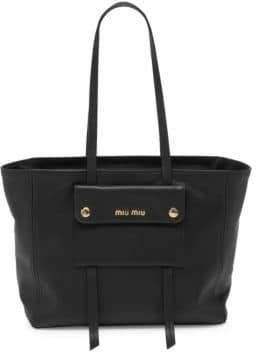 Miu Miu Grace Leather Medium Zip Tote
