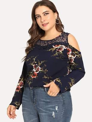 Shein Plus Contrast Lace Floral Print Blouse