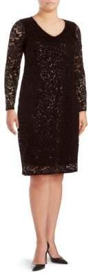 Marina Plus Keyhole Lace Sheath Dress
