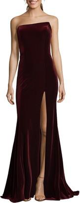 Xscape Evenings Strapless Velvet Gown