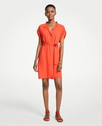Ann Taylor Short Sleeve Tie Waist Shirtdress